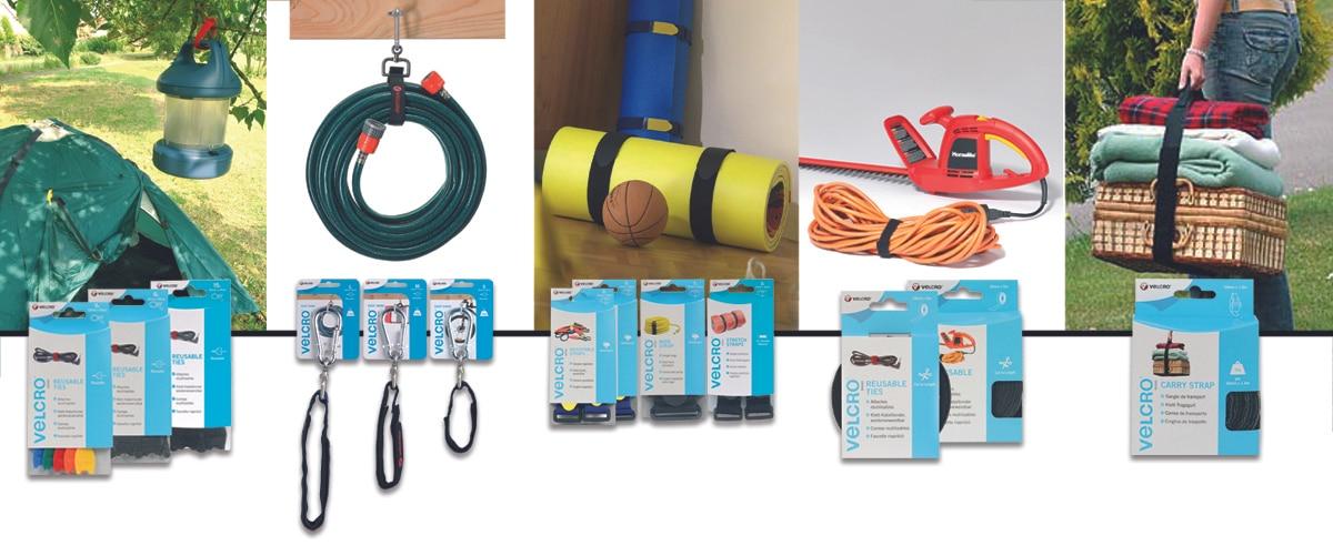 Toute la gamme des sangles Velcro en petits conditionnements : attache-câble, sangles avec mousqueton, sangles élastiques avec boucle et sangles de transport avec poignée.